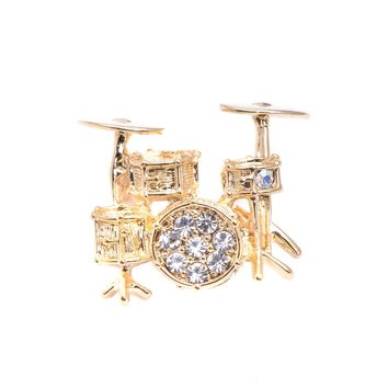 Crystal Drum Set Brooch Pin