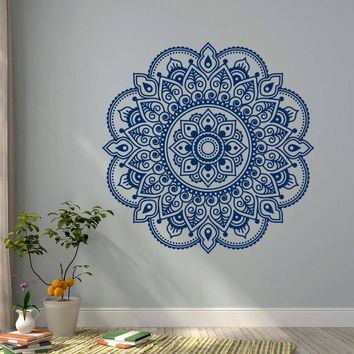 Wall Decal Mandala Yoga Lotus Flower Ornament Designs Decor Murals Yoga Studio India Meditation Bedroom Bohemian Sticker WW-12