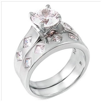 Sterling Silver 2.75 carat Round Cut CZ Bling and Princess cut Diamond Bezel set Modern Wedding Ring set size 5-9