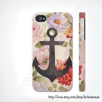 Anchor on vintage floral iphone case, iphone 5 case, iPhone 4s case, iphone 4 case, hard plastic case