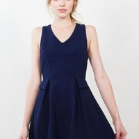 Textured Peplum Skater Dress