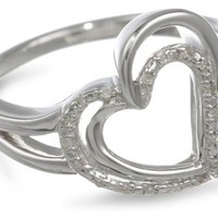 Sterling Silver Diamond Heart Ring (1/20 cttw), Size 8