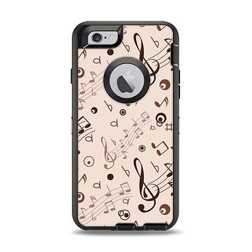 The Tan Music Note Pattern Apple iPhone 6 Otterbox Defender Case Skin Set