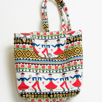 Amazing Vintage 80s/90s Portugal Ethnic Tribal Colorful Funky Print Small Back Pack Bag Purse Unisex