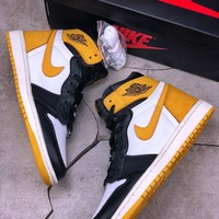 [Free Shipping ] Air Jordan 1 OG Black ToeAJ1 Yellow  /Black  Basketball Sneaker