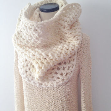 Extra Large Scarf - WINTER WHITE - Thick Warm Cowl - Infinity Scarf