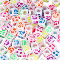 Hot Sale 50pcs 6mm Mix Style Acrylic Square Bead Smile Mood Beads For Jewelry making For Bracelet Free Shipping