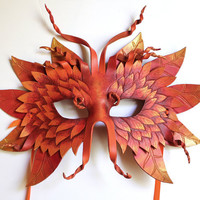 Autumn Forest Mask Handmade Leather Mask by OakMyth on Etsy