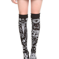 Too Fast Tattoo Rolled Over-The-Knee Socks | Hot Topic