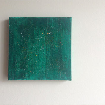 canvas acrylic painting, green size 15x15 cm