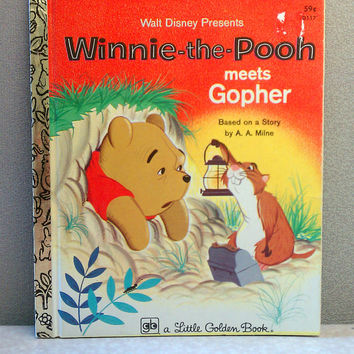 Vintage Children's Book - Winnie-the-Pooh Meets Gopher - Little Golden Book