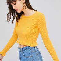 Ruffles Ribbed Sweater
