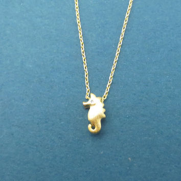 Tiny, Cute, Seahorse, Gold, Silver, Necklace, Minimal, Dainty, Seahorse, Necklace, Lovers, Friends, Sister, Gift, Jewelry