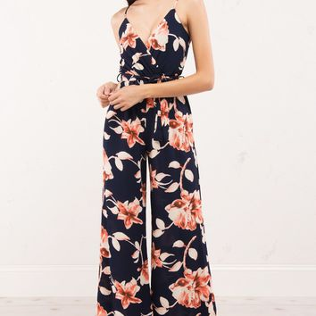 Floral Deep V Wide Leg Jumpsuit in Navy and Pink