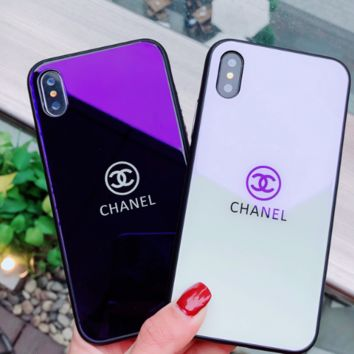Chanel  The original blue glass shell apple 7plus/X mobile phone shell small real big woman iPhone 6s/8plus