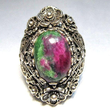 Ruby Zoisite Filigree Sterling Silver Ring, Art Nouveau, Turkey, Size 8.5 - 9 Vintage