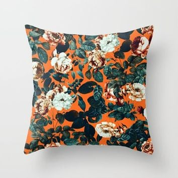 Vintage Garden VII Throw Pillow by Burcu Korkmazyurek