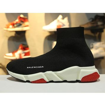 Balenciaga Speed Stretch Knit Low Slip-On Black White Red Socks Shoes - Best Online Sale