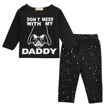 Newborn Baby Boys Girl Star Wars Clothes Tops T-shirt+Long Pants Outfit Set 2pcs unisex baby clothes set newborn set 2017 New