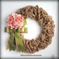 Beautiful Tan Burlap Wreath with Pink Hydrangea and Moss Green Bow