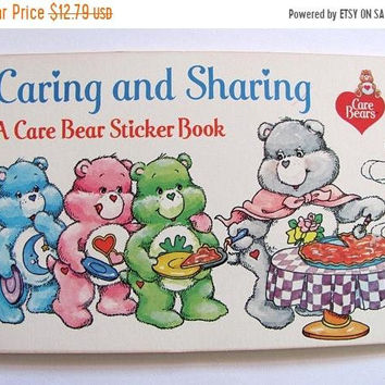 SALE Vintage 80's AGC Care Bears Sticker Book - 32 Stickers - Random House Caring and Sharing Album Cartoon Character Bear