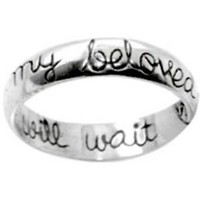 "Christian Women's Sterling Silver 5mm Cursive ""I Will Wait for My Beloved"" Girls Purity Ring"