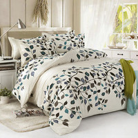 Leaves Quiet Single Double Queen King Size Bed Set Pillowcases Quilt Duvet Cover