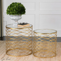 Zoa Gold Accent Tables Set/2