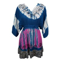 Mogul Womens Boho Chic Dress Tie Dye Blue Embroidered Summer Casual Loose Dresses - Walmart.com