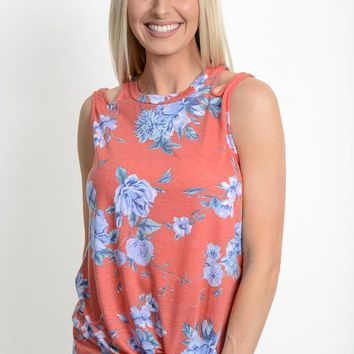 Coral Floral Tie-Front Sleeveless Top
