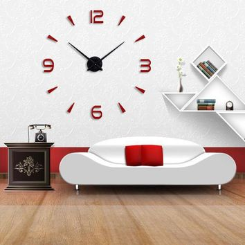 Muhsein Super Big Wall Clock Acrylic Metal Mirror Super Big Personalized Digital Wall Watches Clocks Free