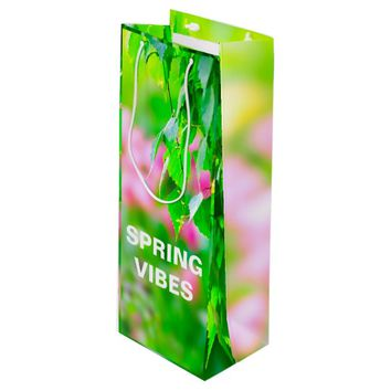 Birch leaves tulip flowers customizable wine gift bag