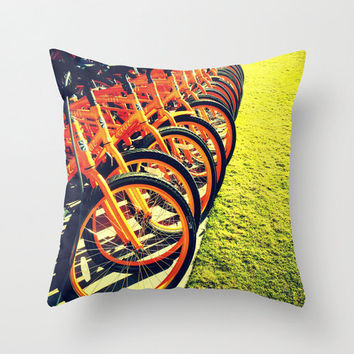 Bikes Pillow | Orange Beach Cruisers Photography | Decorative Throw Pillow Cover | Color Photography | Bicycle Print | ModernBeach