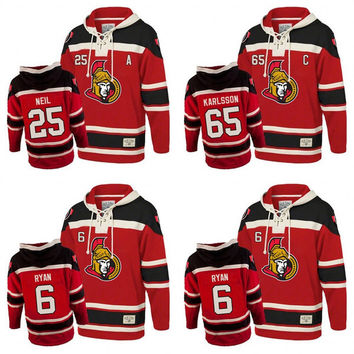 Men's Old Time Hockey Ottawa Senators 6 Bobby Ryan 25 Chris Neil 65 Erik Karlsson Authentic Red Sawyer Hooded Hoodie