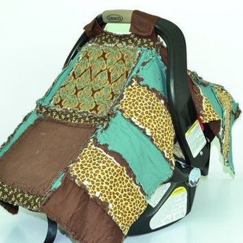 CAR SEAT COVER, Nursing Cover, Rag Quilt, 3 in 1, Damask Turquoise Brown Cover Rag Quilt, Addy Mae, Made to Order