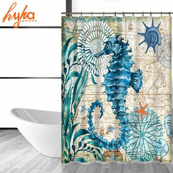 Hyha Marine Polyester Waterproof Shower Curtain Seahorse Turtle 12pc Hooks Mildew