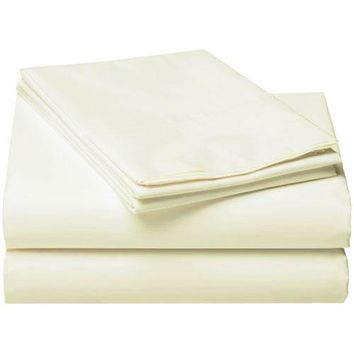Off White Twin Bed Sheet Set 3pc Solid Neutral Bedding