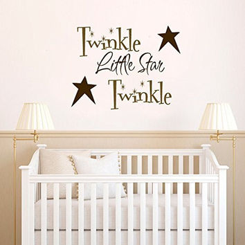 Twinkle Twinkle Little Star with Primitive Stars Vinyl Wall Words Decal Sticker Graphic