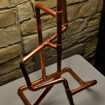 HANDMADE COPPER LAMP, Sculpted Copper Tube Table Lamp Base
