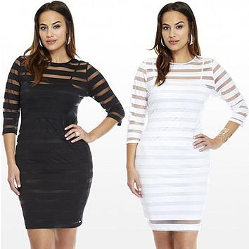 Women Sexy See-through Striped Slim Bodycon Party Summer Mini Dress Clubwear