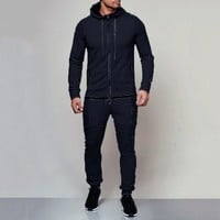New Men's Hoodies Tracksuit Set Sweatpants