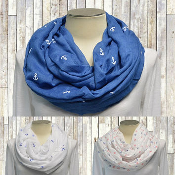 Infinity Scarf Lightweight Cotton Circle Loop Womens Mens Unisex Prints Anchor