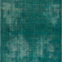 "10'2"" x 12'11"" Turquoise Blue Green Turkish Overdyed Rug"