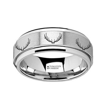 Deer Antlers Engraved - Spinning Tungsten Ring - Laser Engraved - Tungsten Carbide Wedding Band - 8mm