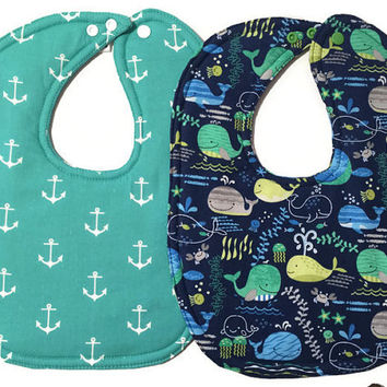Nautical Bib Set - Nautical Baby Bibs - Whale Bibs - Boy Bibs - Fish Bibs - Anchor Bibs - Cotton Baby Bibs - Toddler Bibs - Dribble Bibs