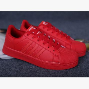 """""""Adidas"""" Fashion Shell-toe Flats Sneakers Sport Shoes Pure color cute Red"""