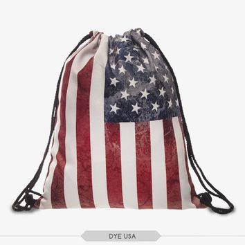 new 3D Printing USA Flag Backpack for daily Shopping