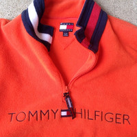 Vintage 90's Tommy Hilfiger Fleece Pullover Quarter Zip Sweater XL Orange shirt hat jacket windbreaker jersey