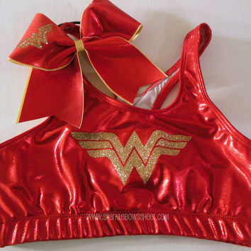 Wonder Woman Metallic Sports Bra and Bow Set Cheerleading