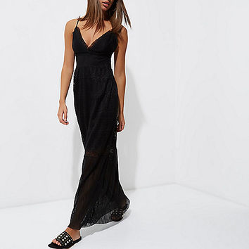 Black lace cami maxi dress